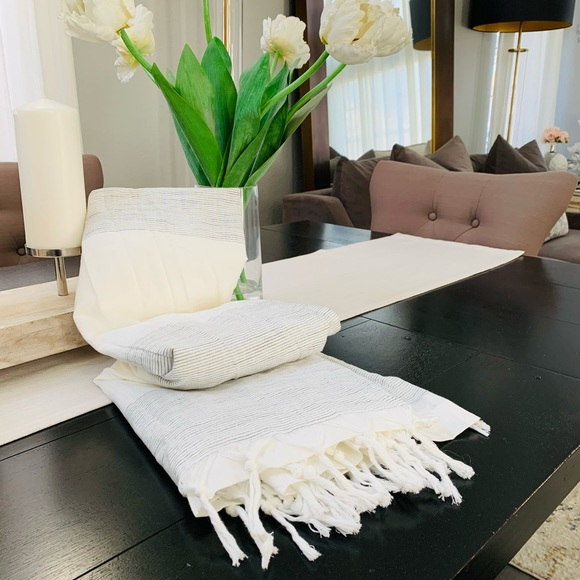Hearth & hand magnolia stripe shower curtain new